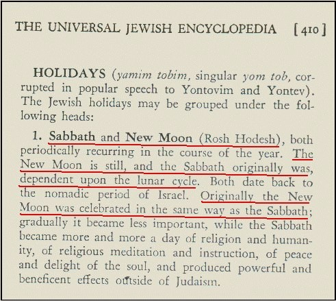 Originally the new moon was celebrated in the same way as the Sabbath